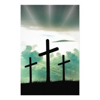 Cross Christ Faith God Jesus Clouds Sun Light Stationery