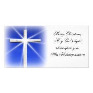 Cross Christmas photo card
