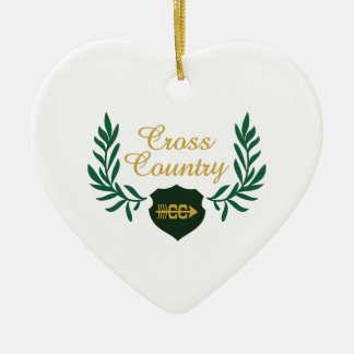 CROSS COUNTRY CREST CERAMIC HEART DECORATION