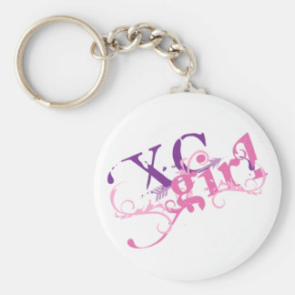 Cross Country Girl Basic Round Button Key Ring