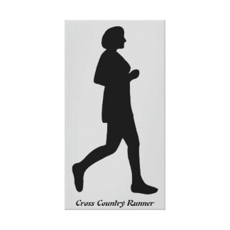 Cross Country Runner Female Silhouette Canvas Stretched Canvas Print