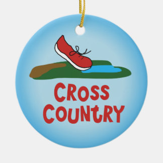 Cross Country Running - front and back Round Ceramic Decoration