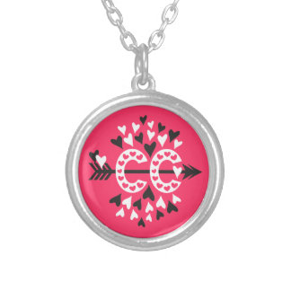 Cross Country Running Love Round Pendant Necklace