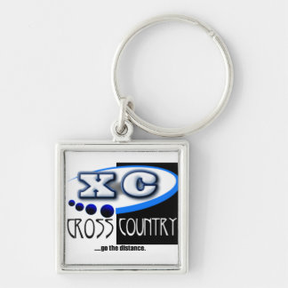 CROSS COUNTRY RUNNING MOTTO - GO THE DISTANCE XC Silver-Colored SQUARE KEY RING
