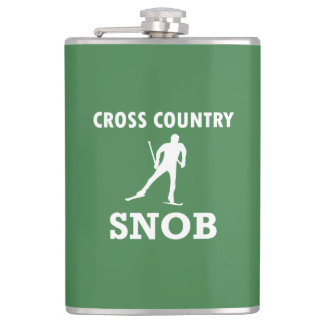 Cross Country Ski Snob (White Logo) Hip Flask