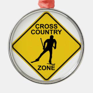 Cross Country Ski Zone Metal Ornament