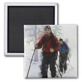 Cross Country Skiers Magnets