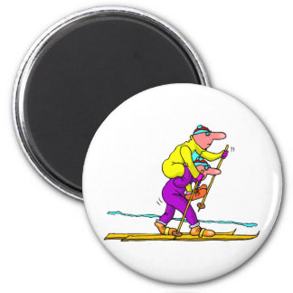 Cross country skiing 6 cm round magnet