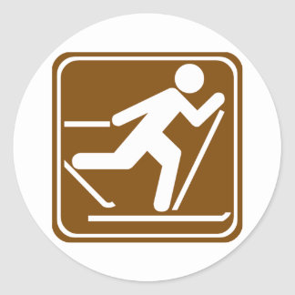 Cross Country Skiing Highway Sign Round Sticker