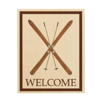 Cross-Country Skis And Poles - Welcome Wood Print