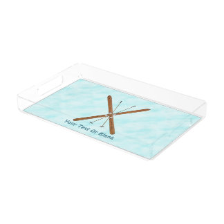 Cross-Country Skis On Snow Acrylic Tray