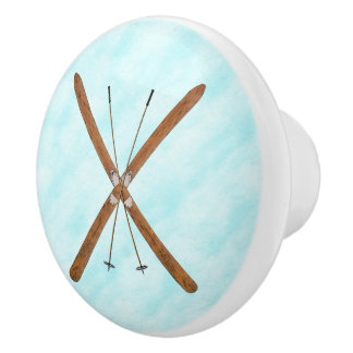 Cross-Country Skis On Snow Ceramic Knob