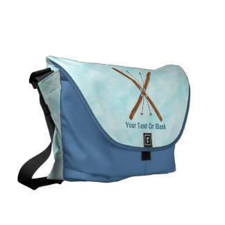 Cross-Country Skis On Snow Messenger Bags