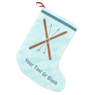 Cross-Country Skis On Snow Small Christmas Stocking