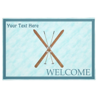 Cross-Country Skis On Snow - Welcome Doormat