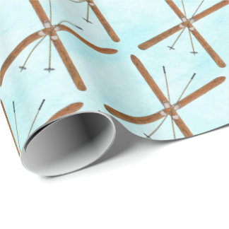 Cross-Country Skis On Snow Wrapping Paper
