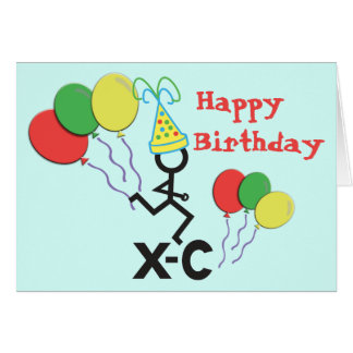 Cross Country XC Runner Happy Birthday Card