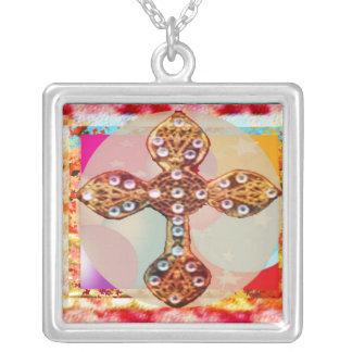 CROSS:  Diamond Studded design Square Pendant Necklace