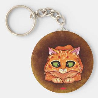 Cross Eyed Pretty Kitty Basic Round Button Key Ring