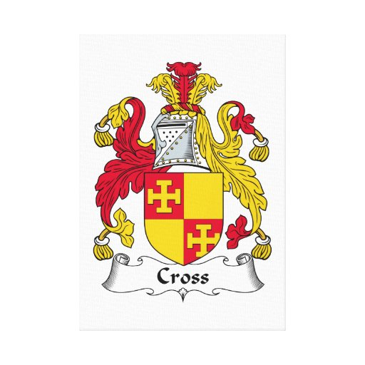 Cross Family Crest Stretched Canvas Print