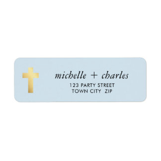 CROSS FAUX GOLD stylish simple baby blue Return Address Label