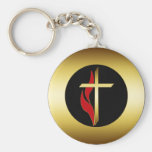 CROSS & FLAME BASIC ROUND BUTTON KEY RING