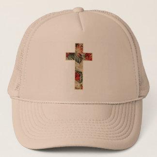 Cross Floral Trucker Hat