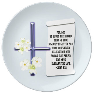 Cross Flower John 3:16 Plate