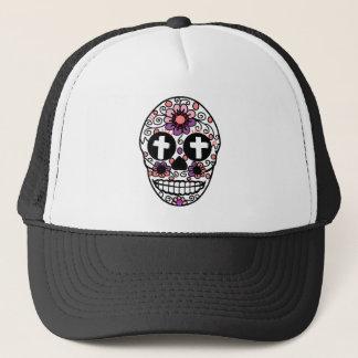 Cross flower skull art trucker hat