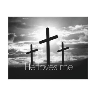 Cross; He Loves Me Quote Canvas Print