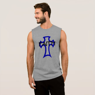 cross image with faith written sleeveless shirt