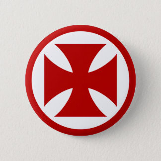 Cross in Circle red 6 Cm Round Badge