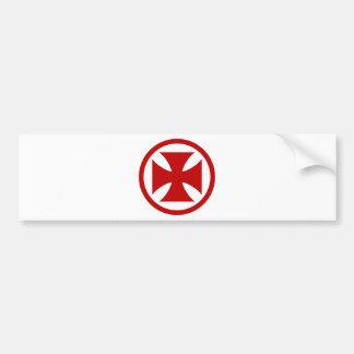 Cross in Circle red Bumper Sticker