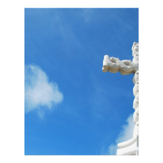 Cross in clouds and blue sky 21.5 cm x 28 cm flyer