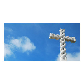 Cross in clouds and blue sky personalized photo card