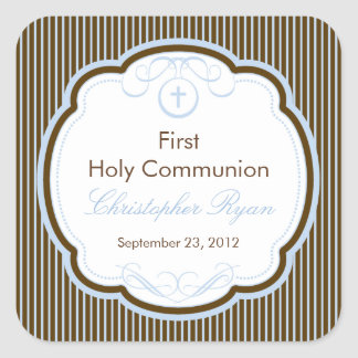 Cross In Frame First Holy Communion Boy Square Sticker