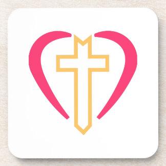 Cross In Heart Beverage Coaster