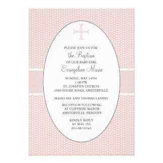 Cross in Oval Frame - Blush Custom Announcements