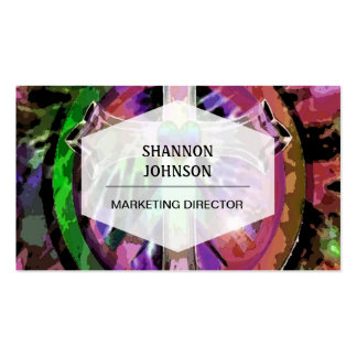 Cross in Tye Dye Colors with Heart Center. Business Card Templates