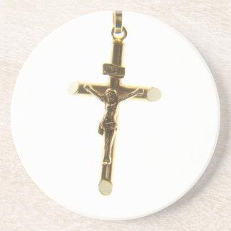 Cross Jesus Christ gold horizontal Coaster