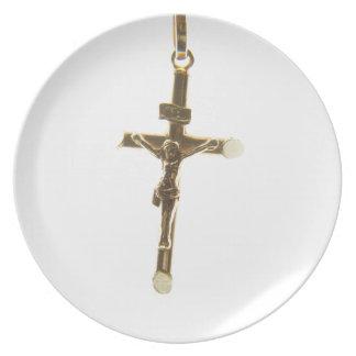 Cross Jesus Christ gold horizontal Plate