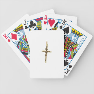 Cross Jesus Christ gold horizontal Poker Deck