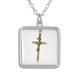 Cross Jesus Christ gold horizontal Silver Plated Necklace