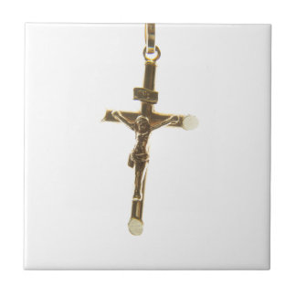 Cross Jesus Christ gold horizontal Small Square Tile
