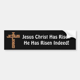 Cross, Jesus Christ Has Risen Bumper Sticker