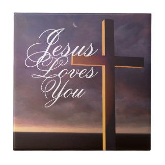 Cross Jesus Loves You Ceramic Tile