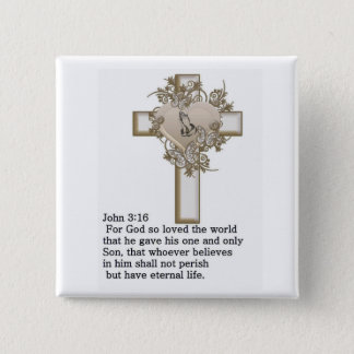 cross john 3: 16 15 cm square badge