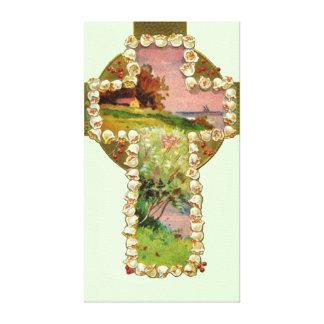 Cross Landscape Painting Canvas Print