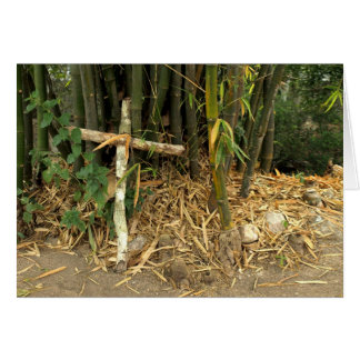 cross leaning on bamboo card