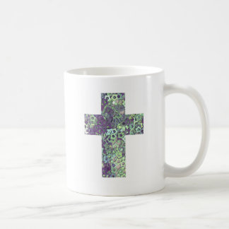 cross made of shiny stars basic white mug